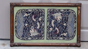 Antique 19c Double Rank Silk Embroidery 5 Claws Dragon And Bats Badgeframed