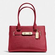 Coach Swagger Carryall In Polished Pebble Leather 36488 Gold And Red Tote Bag