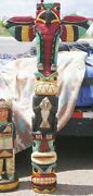 6' Hand Carved Totem Pole 6 Ft Peyote Bird Totems Native American F Gallagher