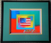 P.max-flag With Hearts On Blend Ii-2008 49-acrylic And Litho On Paper-framed Art