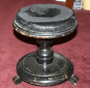 Antique Cow Milking Wood Stool Bench Chair Black Painted Wood Country Farm Decor