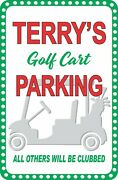Personalized Golf Cart Parking Sign With Cart Silhouette Gift For Golfers