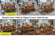 Dining 6 Pc Set Rectangular Solid Wood Table W/4 Chairs And Bench Two Tone Finish