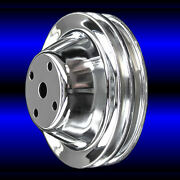 Water Pump Pulley 2 Groove For Chevy Long Water Pump 327 350 400 Chrome