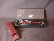 Mont Blanc Burgundy Ball Point Pen W/box And Leather Case