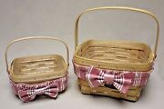 Longaberger 2 Basket Set 98-99 Small And Large Berry Baskets W/protector And Garters