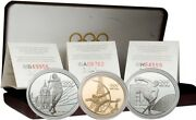 France 1994 Olympic Centennial Games 3pc Gold And Silver Pf Set W/coa And Box