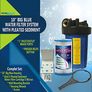 """10 Big Blue Whole House System With 4.5x10"""" Pleated Sediment Water Filter"""
