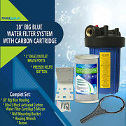 """10 Big Blue Whole House System With 4.5x10"""" Carbon Block Water Filter"""