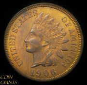1906 1c Indian Head Cent Red Brown Unc Rb Bu Vp-002 Errant 0 S-6 Rare Snow Coin