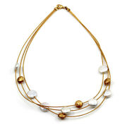 3 Strand Pearl And Gold Bead Station Necklace In 18k Yellow Gold