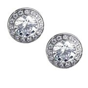 B.tiff Aureolo 1 Carat Solitaire Round Cz Pave Surround Silver Stainle