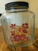 Vintage Glass Coffee Canister Jar Red Flowers Cookie Biscuit Storage Anchor Hock