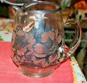 Vintage Clear Glass Pitcher Silver Flower Overlay Dorothy Thorpe Applied Handle