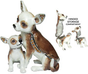 Chihuahua And Puppy Jeweled Trinket Box With Crystals, By Rucinni
