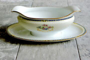 Antique Noritake Sauce Boat Rc Nippon Fine China Attached Saucer Biue And Pink Flo