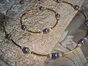 Magnetic Clasp Purple Pearl And White Crystal Bead Necklace Bracelet Set N-39