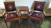 Rare Pair Of Antique Embroidered Carved Wooden Chairs