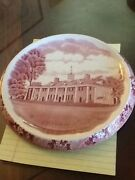 Old English Staffordshire Red Candle Holder Plate Lkok