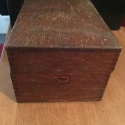 Antique Weis Oak Wood Recipe Card File Box Old Vtg Dove-tailed Kitchen Decor
