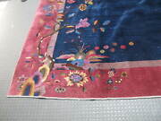Antique Art Deco Chinese Rug 9and039 X 11and039-7 Hand Knotted Wool 1940and039s Phoenix Bird