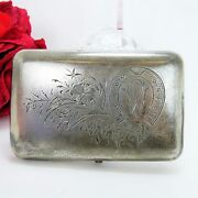 Russian Antique 1893 Sterling Cigarette Case Floral And Horseshoe Etched Design