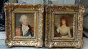 Pair Antique English School Oil Portraits Of Lady Happner And Lord Fon Welton