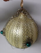 Antique Victorian Germany Christmas Tree Mercury Glass Wire Wrap Ball Ornament