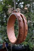 Anno Domini Garden Sundial Hanging Ring Made From Terracotta With Hemp Rope