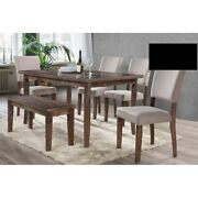 Rustic Antique Natural Oak 6pc Set Dining Table W/4 Chairs Fabric Seat And Bench