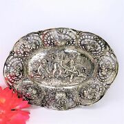 Antique Repousse 800 Silver Platter W/ Cherubs And Floral And Filigree Design