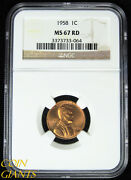 1958 Lincoln Wheat Cent Ngc Ms67 Red Gem High Grade Rare Coin 1c