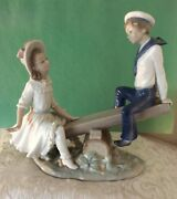 Lladro Seesaw L 1255g Sailor Boy And Girl Retired/ Vintage Used
