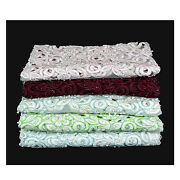 52 Wide White Blue Green Pink Burgundy Beaded Corded Embroidery Scallop Fabric