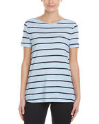 Three Dots Striped T-shirt Xs Cotton Usa Chambray Blue Tee Top Anthropologie
