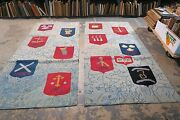 Set @ 2 Vintage Hand Hooked Rug 4' X 9' The Twelve Apostles Religious Tapestry