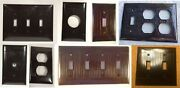 Vtg Eagle Sierra Bakelite Ribbed Outlet Wall Switch Plate Covers Classic Brown