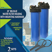 """2 Big Blue Housings 20 For Whole House Water Filtration System, 1"""" Brass Port"""