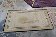 Vintage Primitive American Hooked Rug Wool On Burlap 2and0399 X 5and0394 Peacock