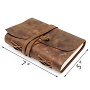 Vintage Writing Journal Scrapbook   Handmade Leather Bound Diary For Adults And...