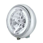 Motorcycle 7 Grooved Headlight With Chrome Housing - 34 White Led Bulb