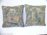 Antique Pair Of 17th Century Flemish Brussels Tapestry Pillows