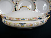 Noritake Nippon- C.1912- Oval Covered Serving Bowl- Floral Band- Great Gilt