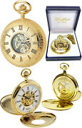 Woodford Twin-lid Half Hunter Pocket Watch 17 Jewel Gold-plate Free Engrave 1077
