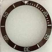Ceramic Insert For Rolex Submariner In Brown With White Numerals