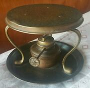 Rare Hand Hammered Copper And Brass Oil Lamp Beverage Warmer Hotplate Pat. 8586