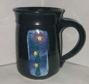 Huffman What Cheer IA Pottery Blue Purple Abstract Flower Signed Coffee Cup 14oz