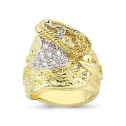 9ct Gold Saddle Ring Heavy Cz Horse Shot Knot Cowboy Buckle Band Boxed