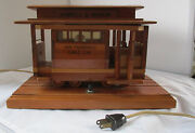 Vintage Midcentury Wooden Powell And Mason San Francisco Cable Trolley Night Light
