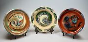 3 Vtg Mid Century Mod Studio Art Pottery Low Bowls Signed Nelson Dated 1940 And 54